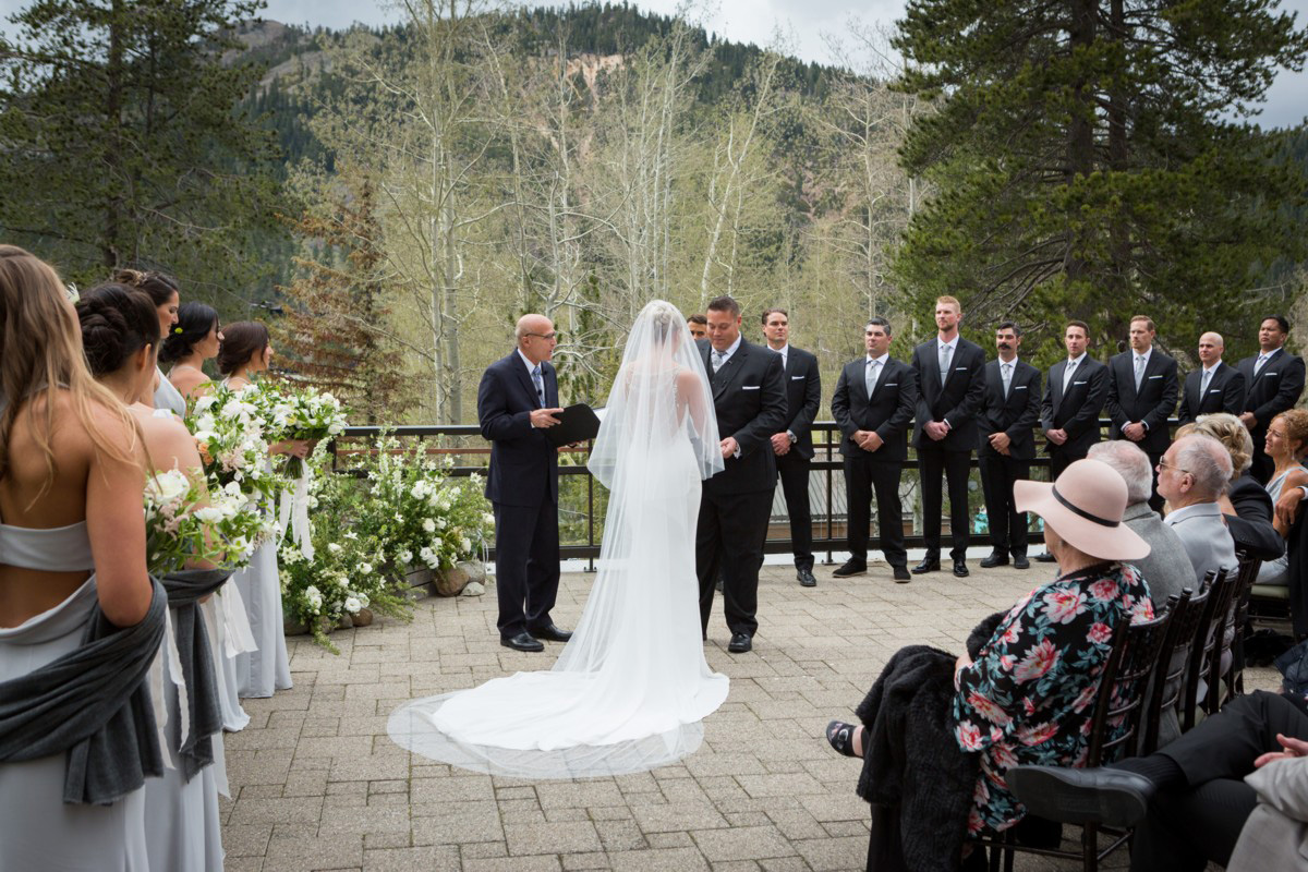 Resort at Squaw Creek Lake Tahoe wedding - wedding party in ceremony