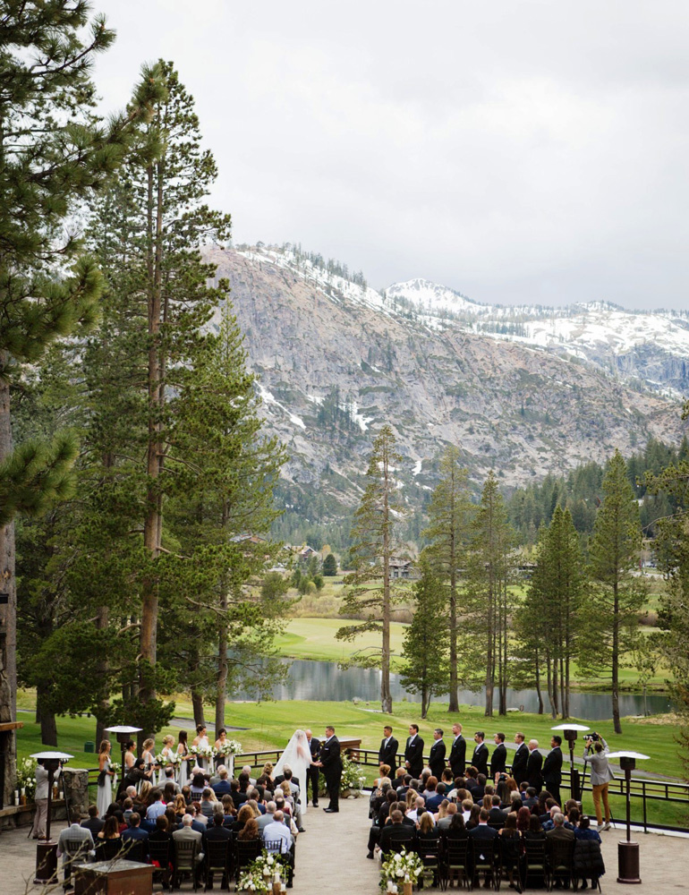Resort at Squaw Creek Lake Tahoe wedding - ceremony with mountains