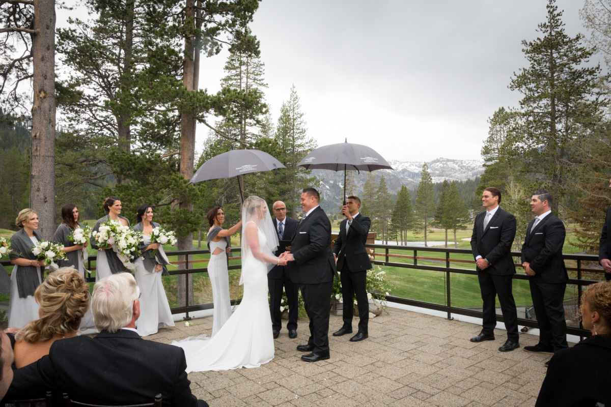Resort at Squaw Creek Lake Tahoe wedding - raindrops begin