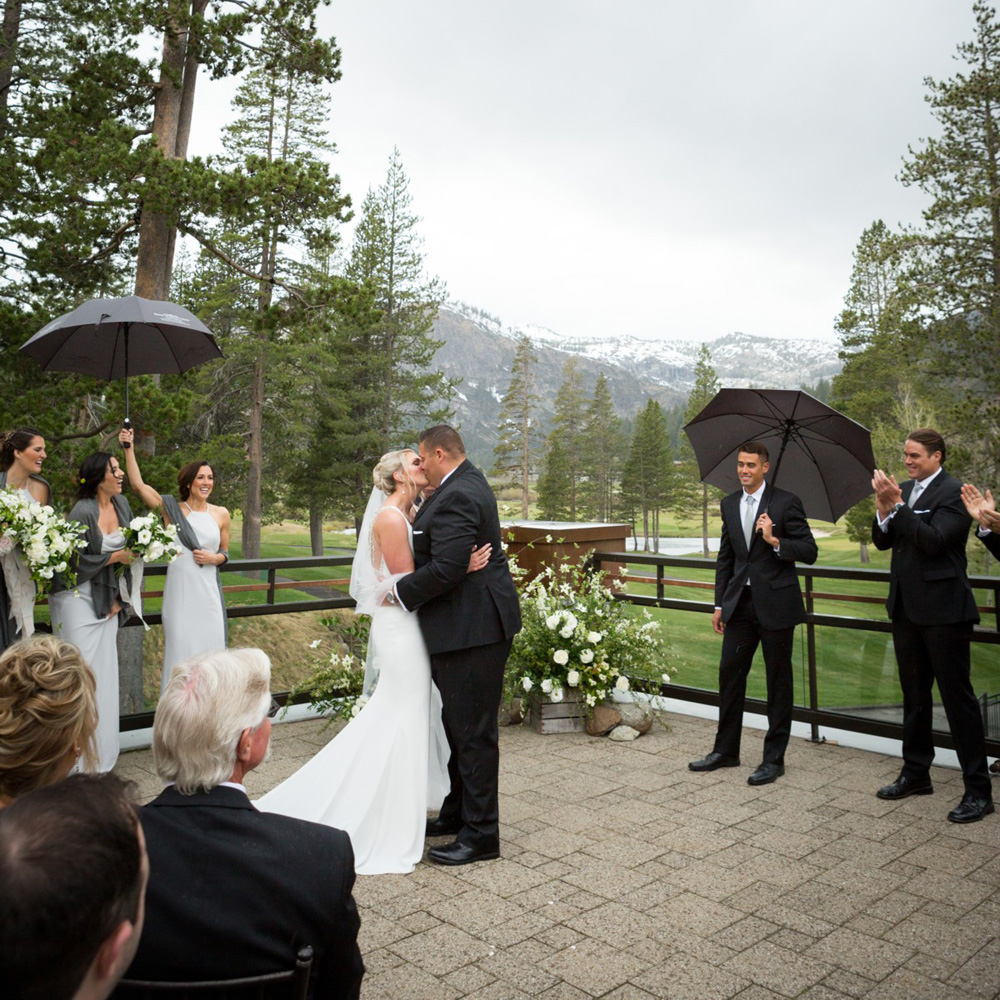 Resort at Squaw Creek Lake Tahoe wedding - the kiss