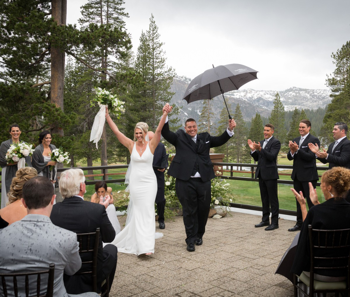 Resort at Squaw Creek Lake Tahoe wedding - just married