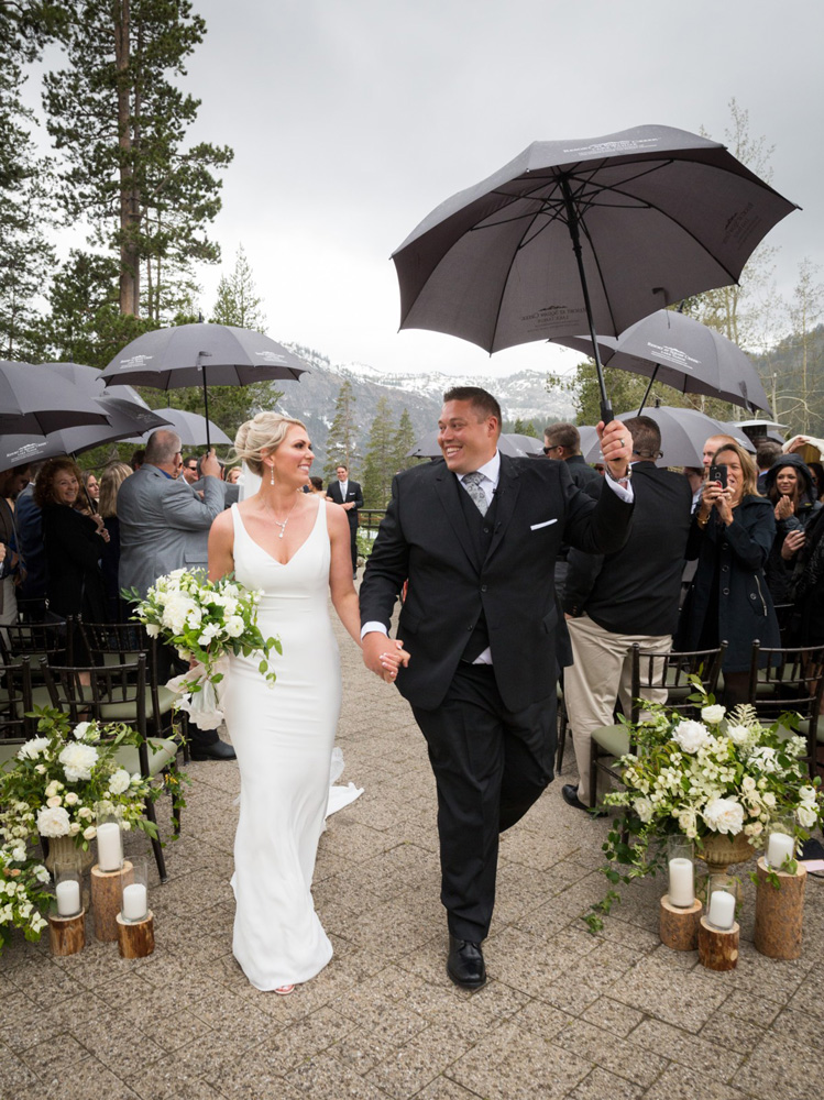 Resort at Squaw Creek Lake Tahoe wedding - couple down the aisle