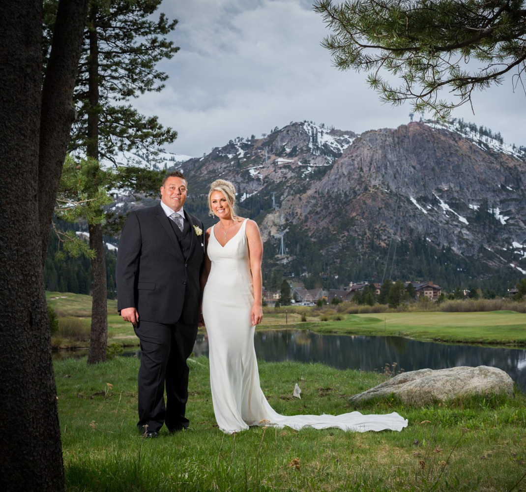 Resort at Squaw Creek Lake Tahoe wedding - couple mountains
