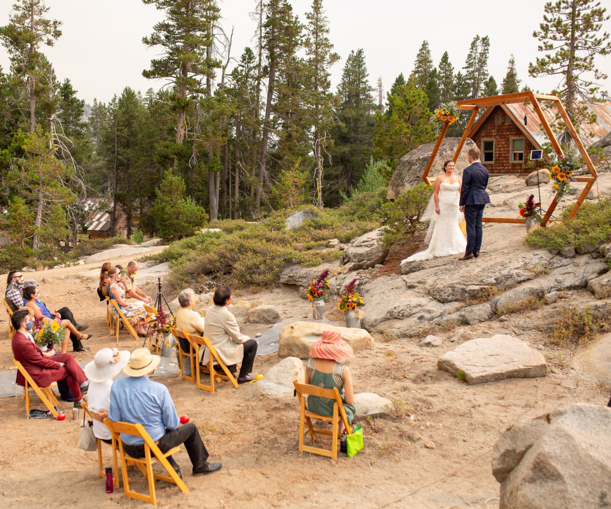 socially distanced wedding ceremony at the HideOut near Lake Tahoe