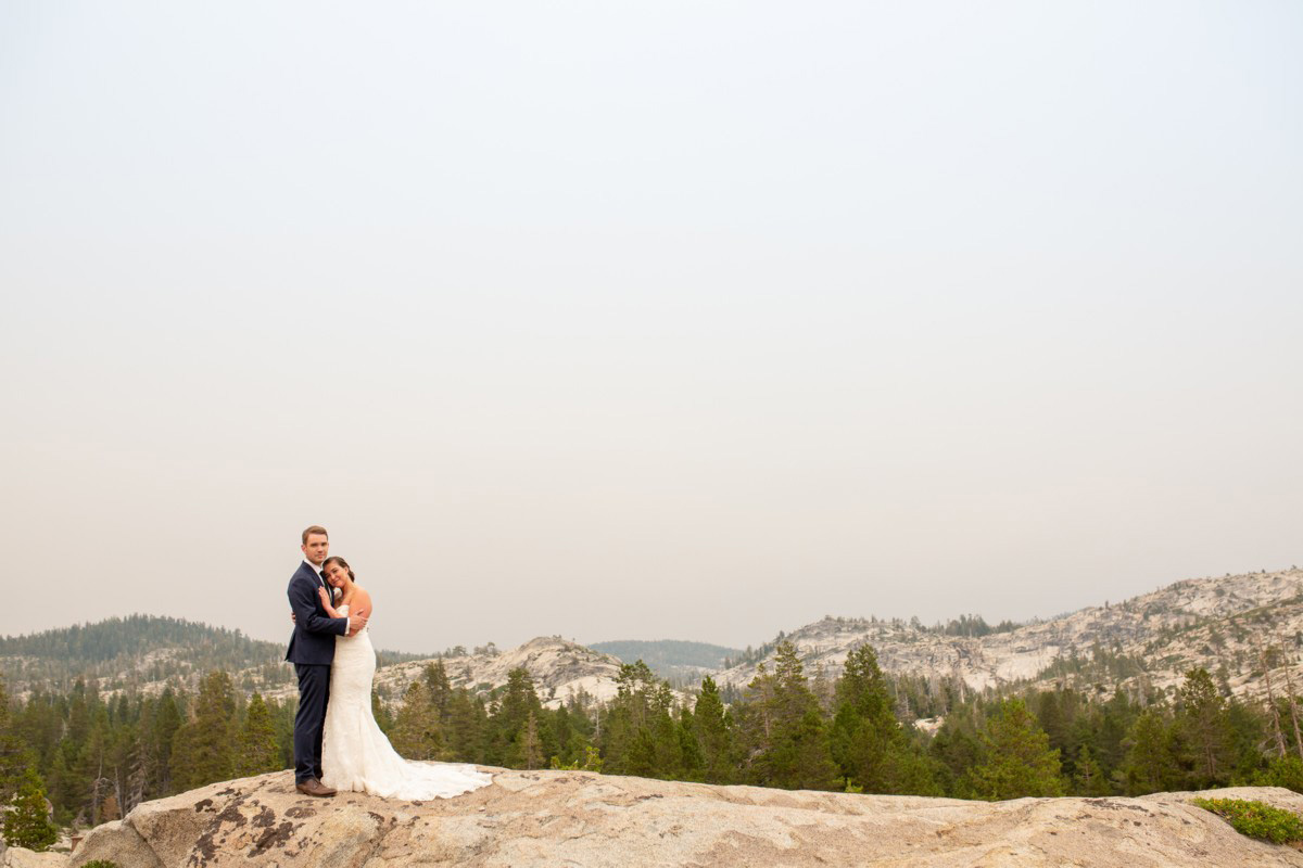newlywed couple at The HideOut at Kirkwood wedding venue near Lake Tahoe