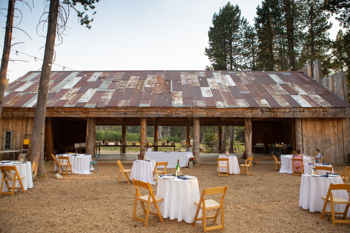 socially distanced wedding reception tables at the HideOut near Lake Tahoe