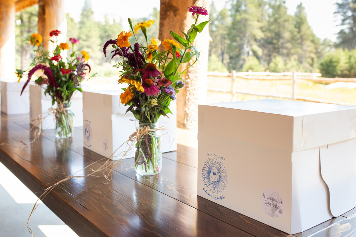 personal storage boxes for wedding guests at the HideOut near Lake Tahoe