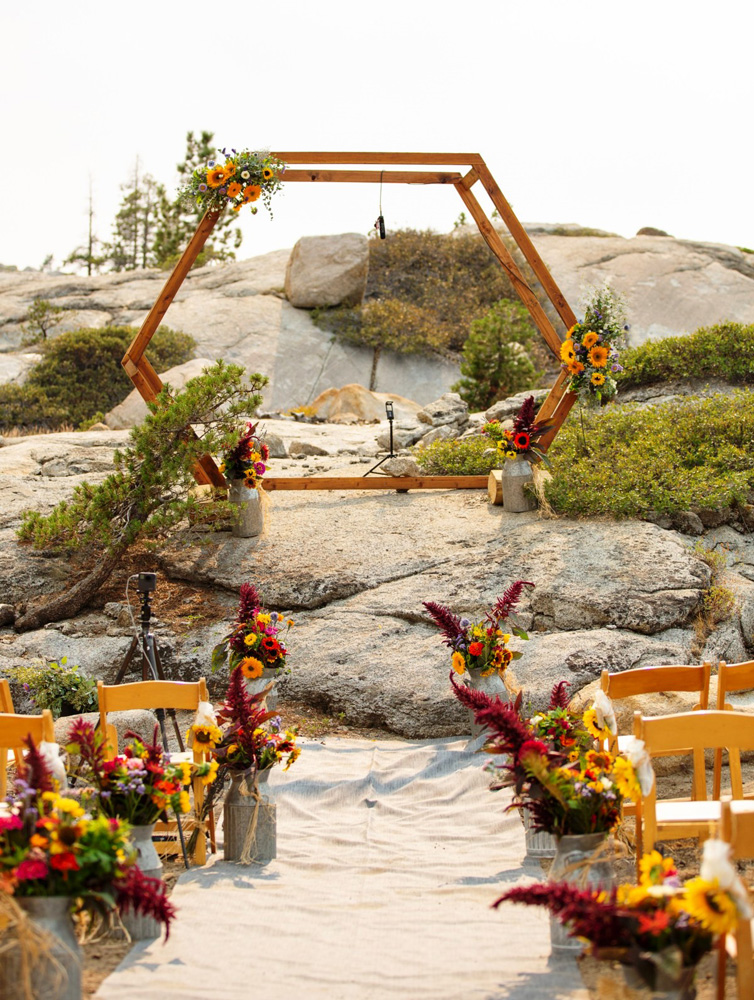 ceremony aisle and structure for socially distanced wedding ceremony at the HideOut near Lake Tahoe
