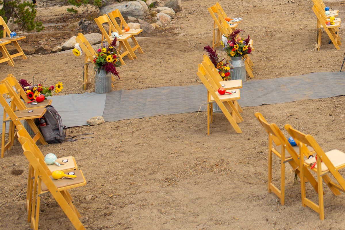 socially distanced wedding ceremony chairs at the HideOut near Lake Tahoe