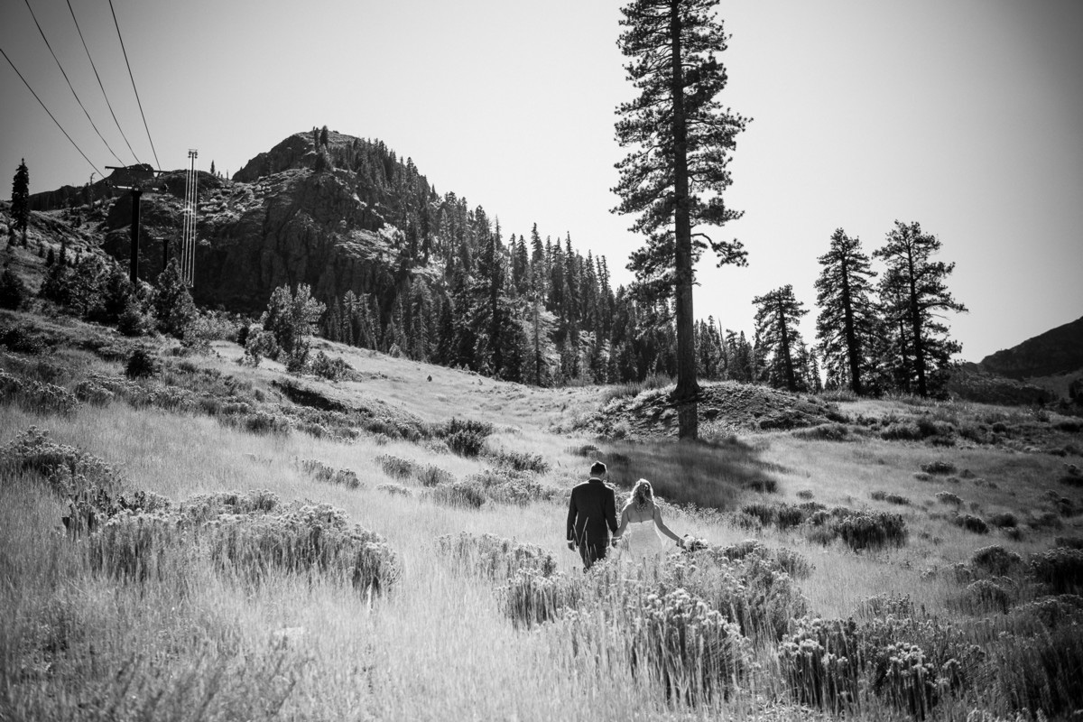 Squaw Valley wedding near Lake Tahoe - couple walking up mountain