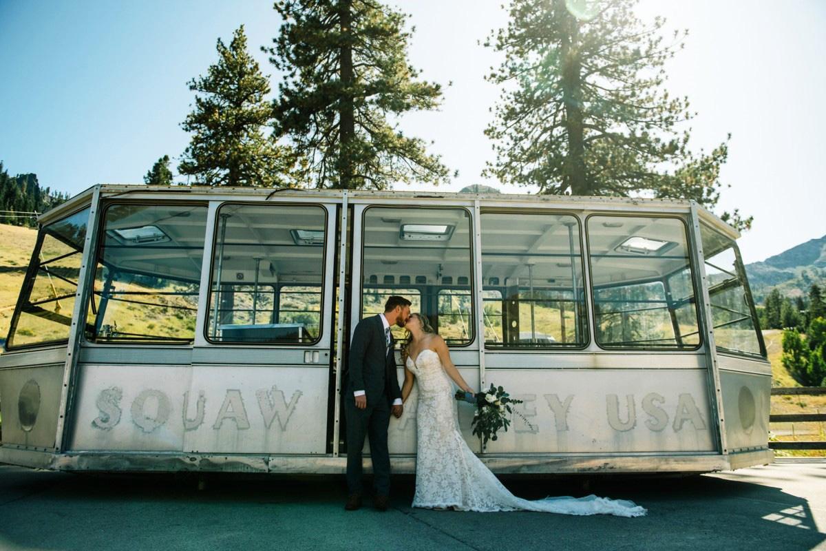 Squaw Valley wedding near Lake Tahoe - couple by old gondola