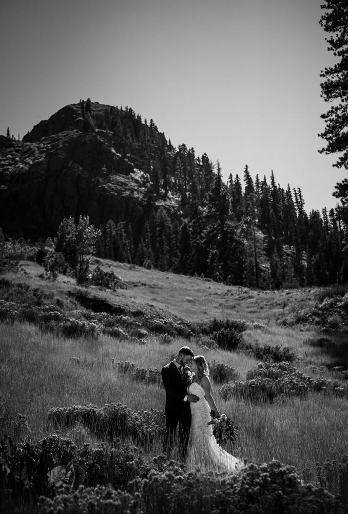 Squaw Valley wedding near Lake Tahoe - couple in alpine scenery