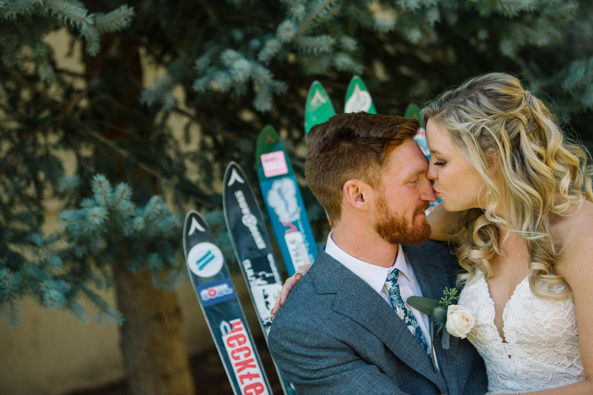 Squaw Valley wedding near Lake Tahoe - couple by skis