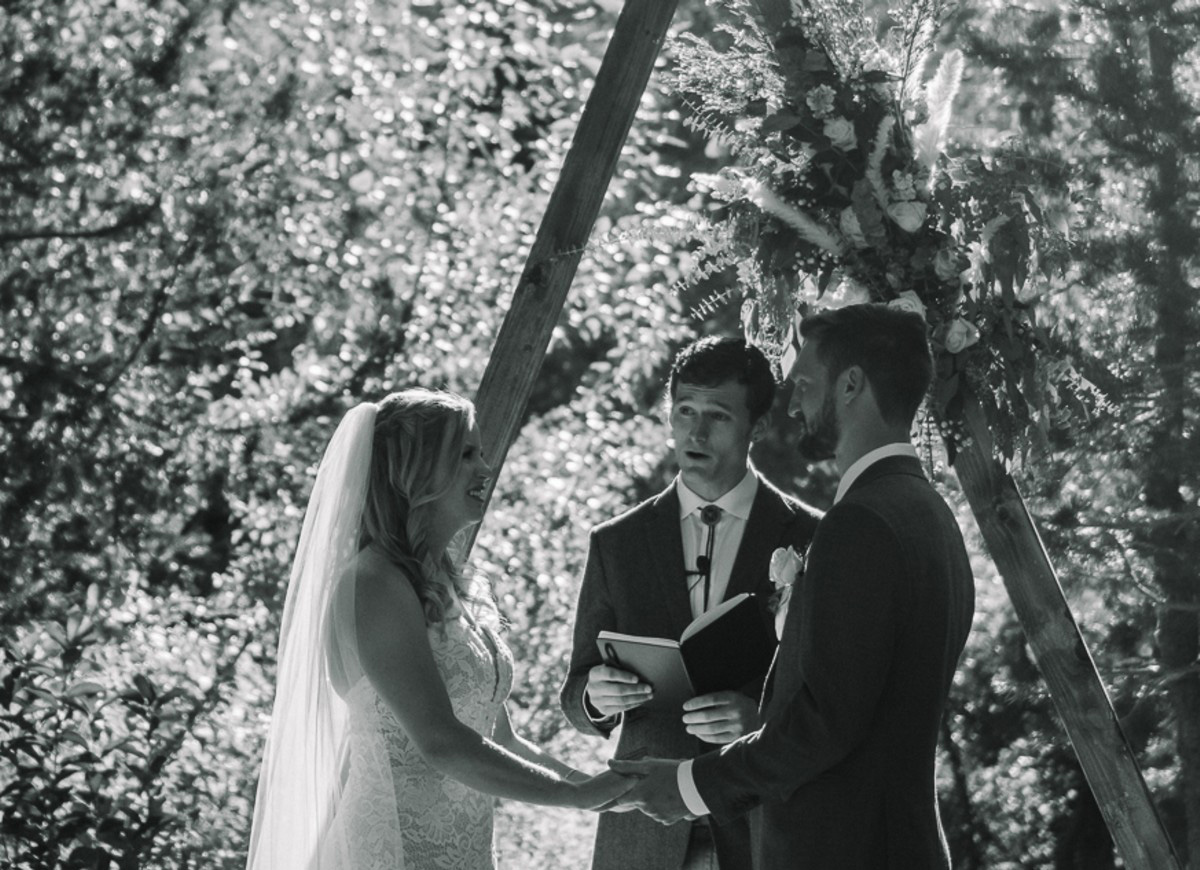 Squaw Valley wedding near Lake Tahoe - couple close up during ceremony