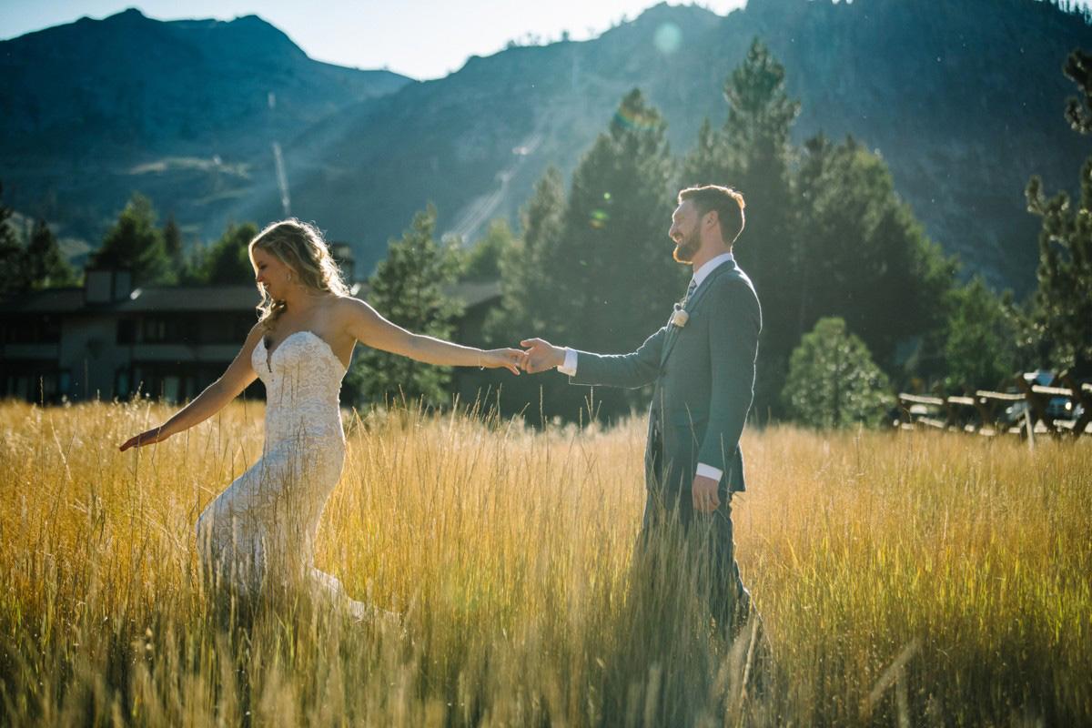 Squaw Valley wedding near Lake Tahoe - couple walking in field