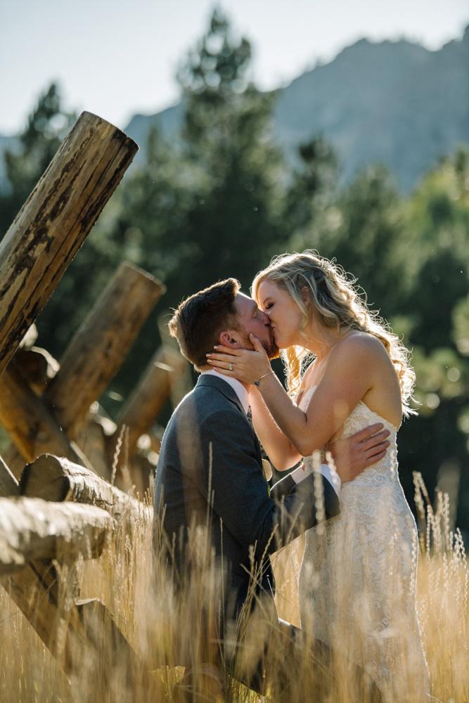 Squaw Valley wedding near Lake Tahoe - couple kissing