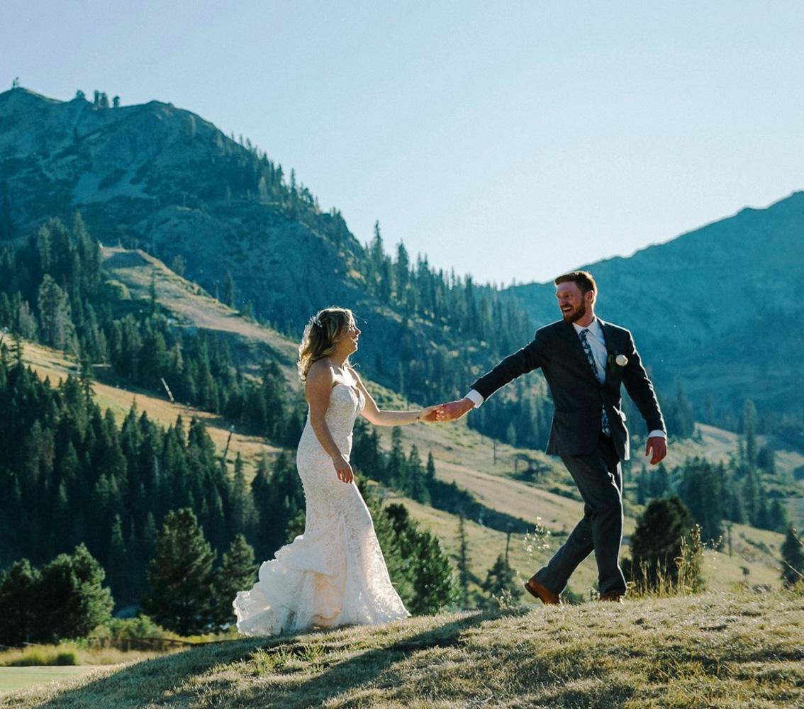 Squaw Valley wedding near Lake Tahoe - couple walking near mountains