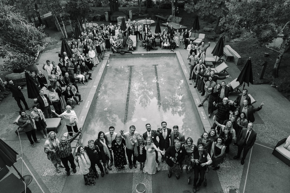 Squaw Valley wedding near Lake Tahoe - guests around pool