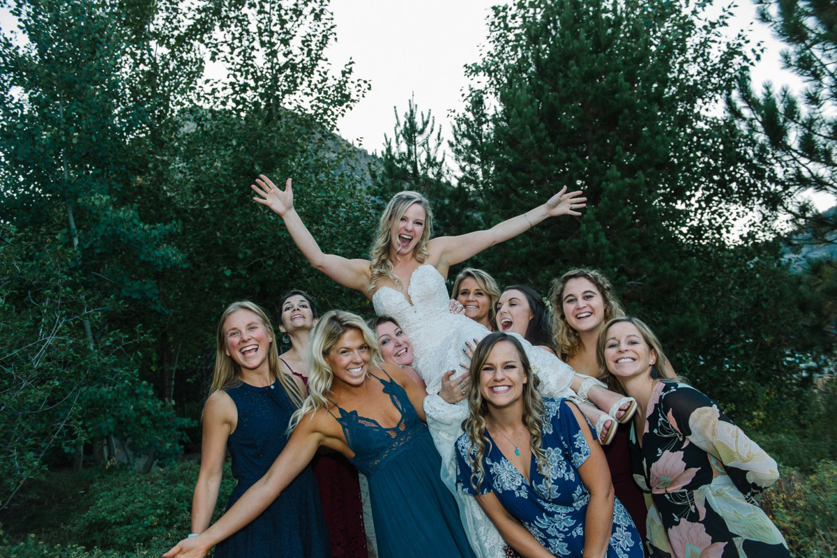 Squaw Valley wedding near Lake Tahoe - bride with female friends