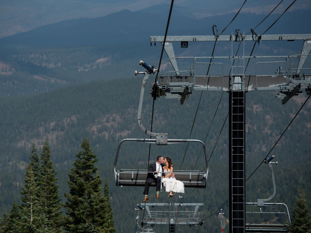 Northstar California Wedding Lake Tahoe couple on chairlift