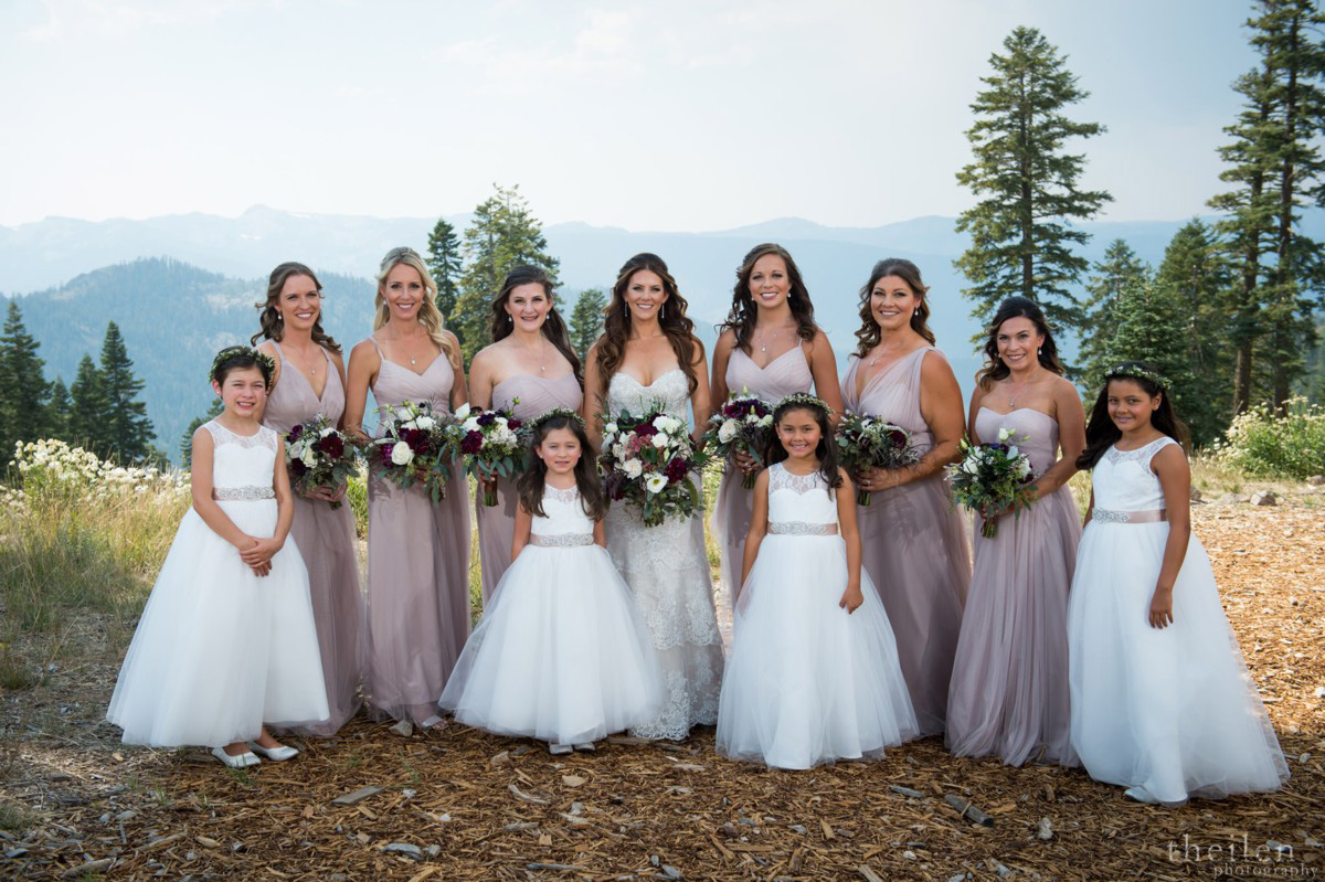Northstar California Wedding Lake Tahoe bridal party on mountaintop