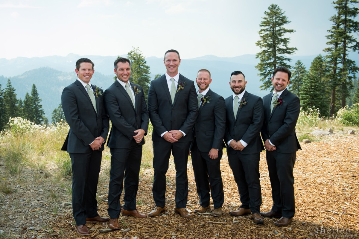 Northstar California Wedding Lake Tahoe groom's party on mountaintop