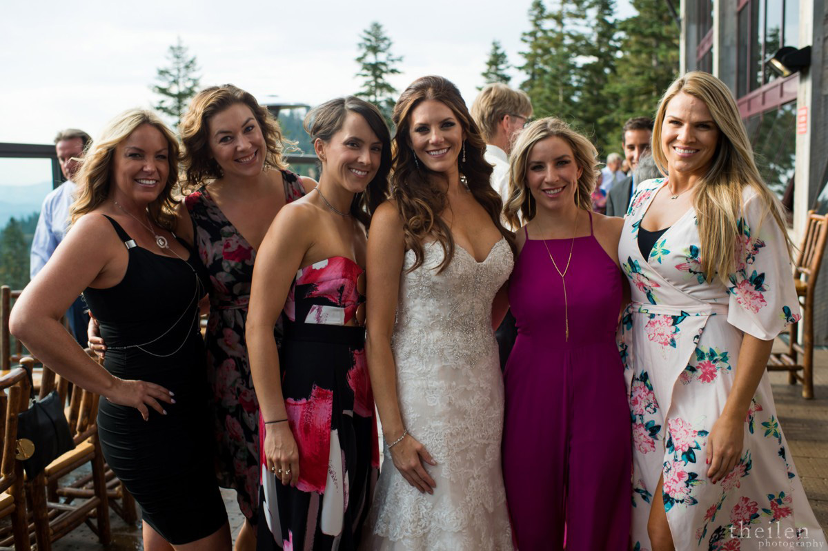 Northstar California Wedding Lake Tahoe bride with guests at cocktail reception
