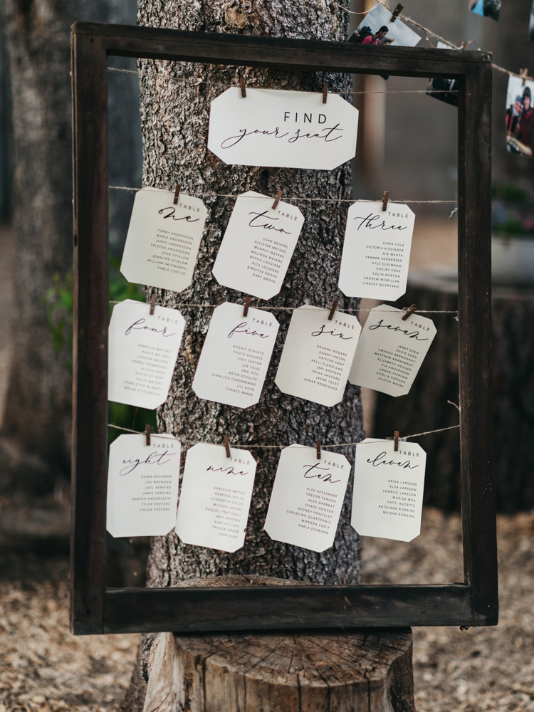 Wedding at The Hideout - VILD Photography - escort card display