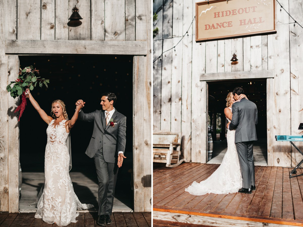 Wedding at The Hideout - VILD Photography - couple makes grand entrance & first dance