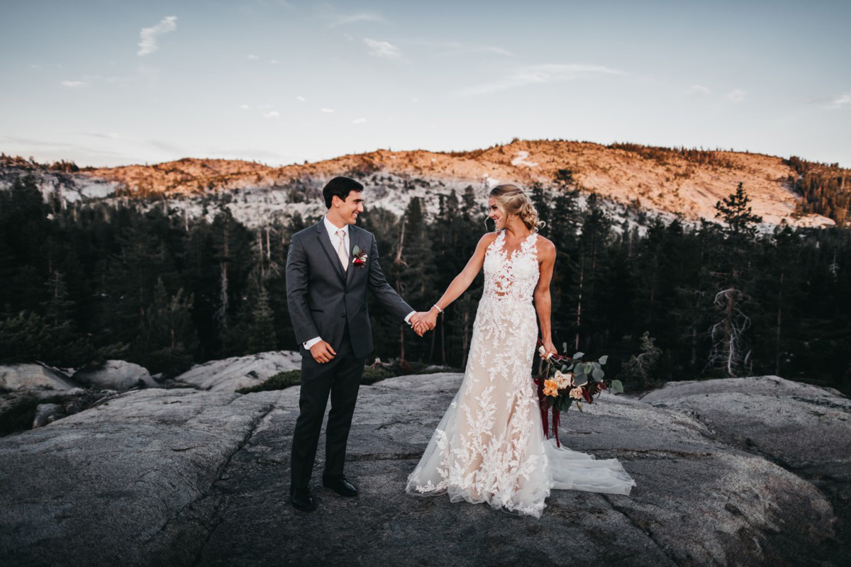 Wedding at The Hideout - VILD Photography - couple at sunset with mountain view