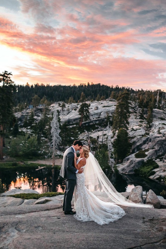 Wedding at The Hideout - VILD Photography - couple at sunset overlooking lake