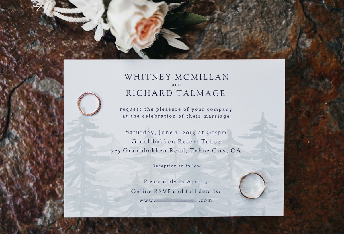rustic relaxed wedding Lake Tahoe - invitation