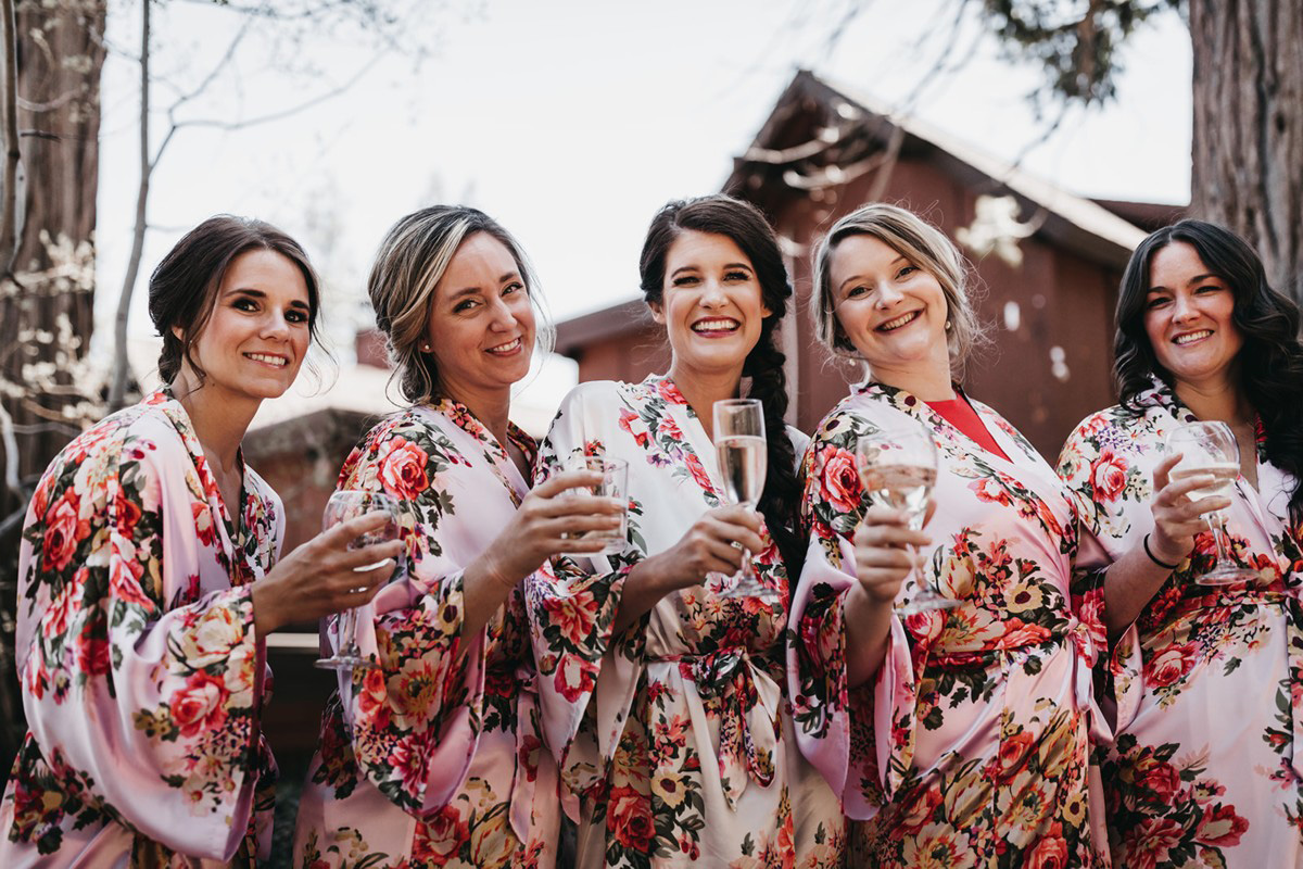 rustic relaxed wedding Lake Tahoe - bridal party in robes