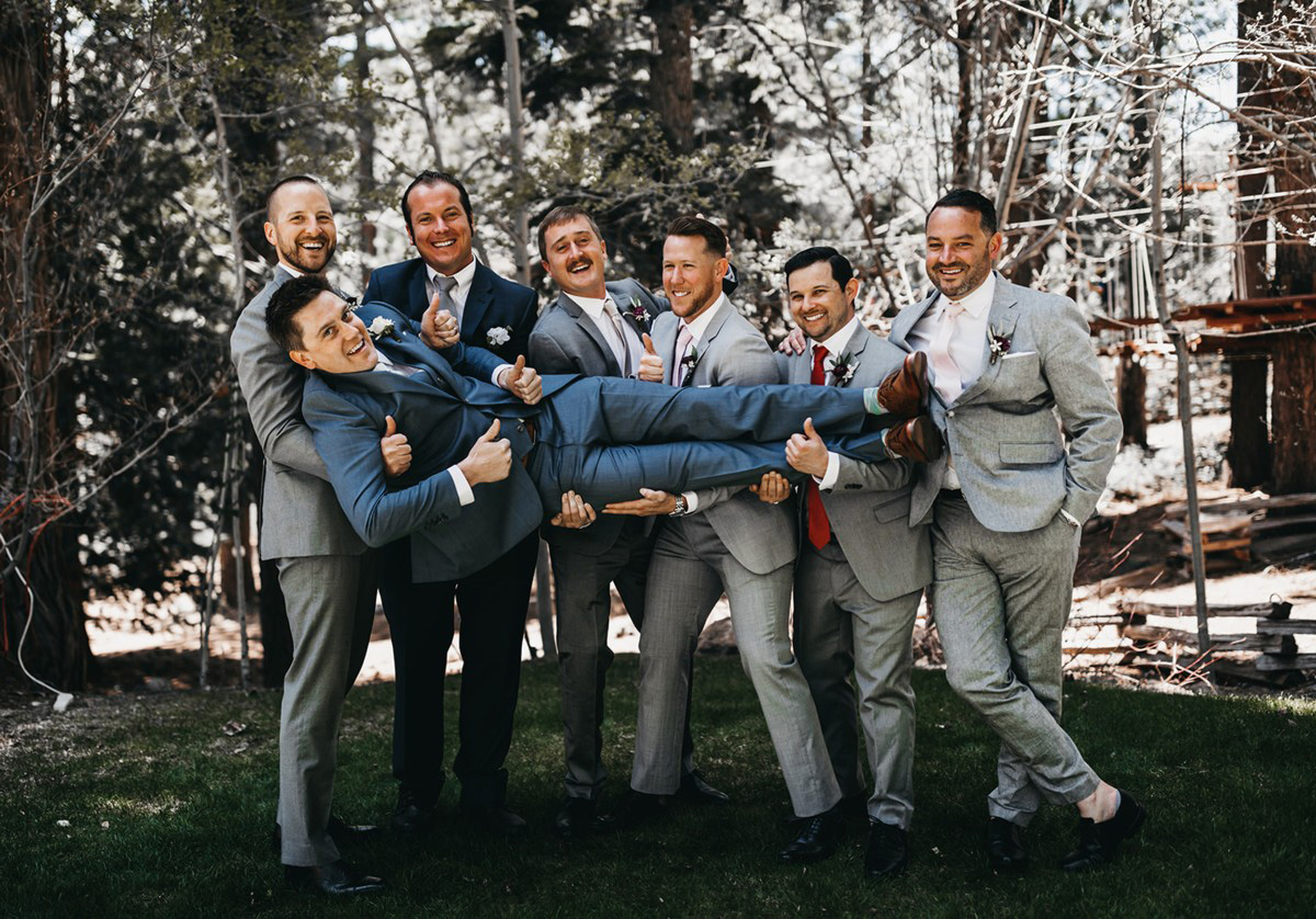 rustic relaxed wedding Lake Tahoe - groom with groomsmen