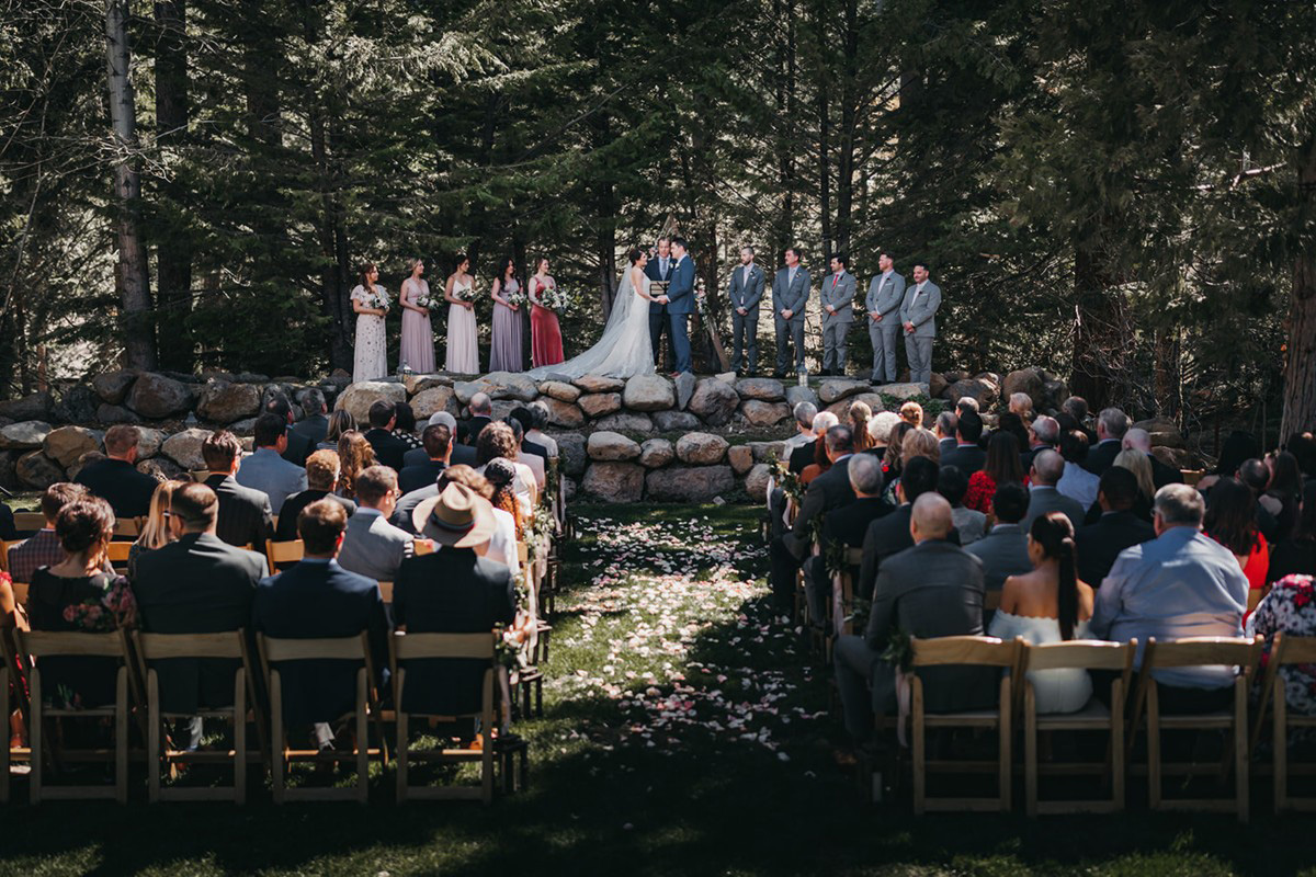 rustic relaxed wedding Lake Tahoe - guests witnessing ceremony