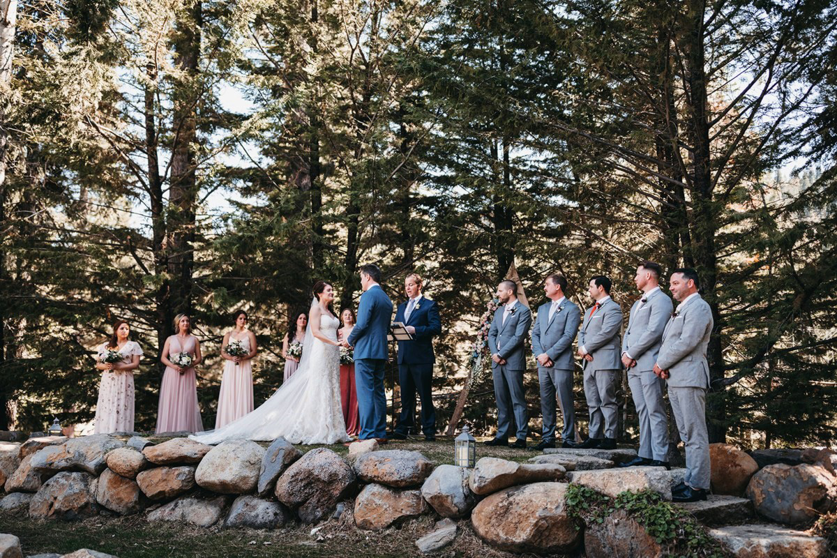 rustic relaxed wedding Lake Tahoe - wedding party and officiant