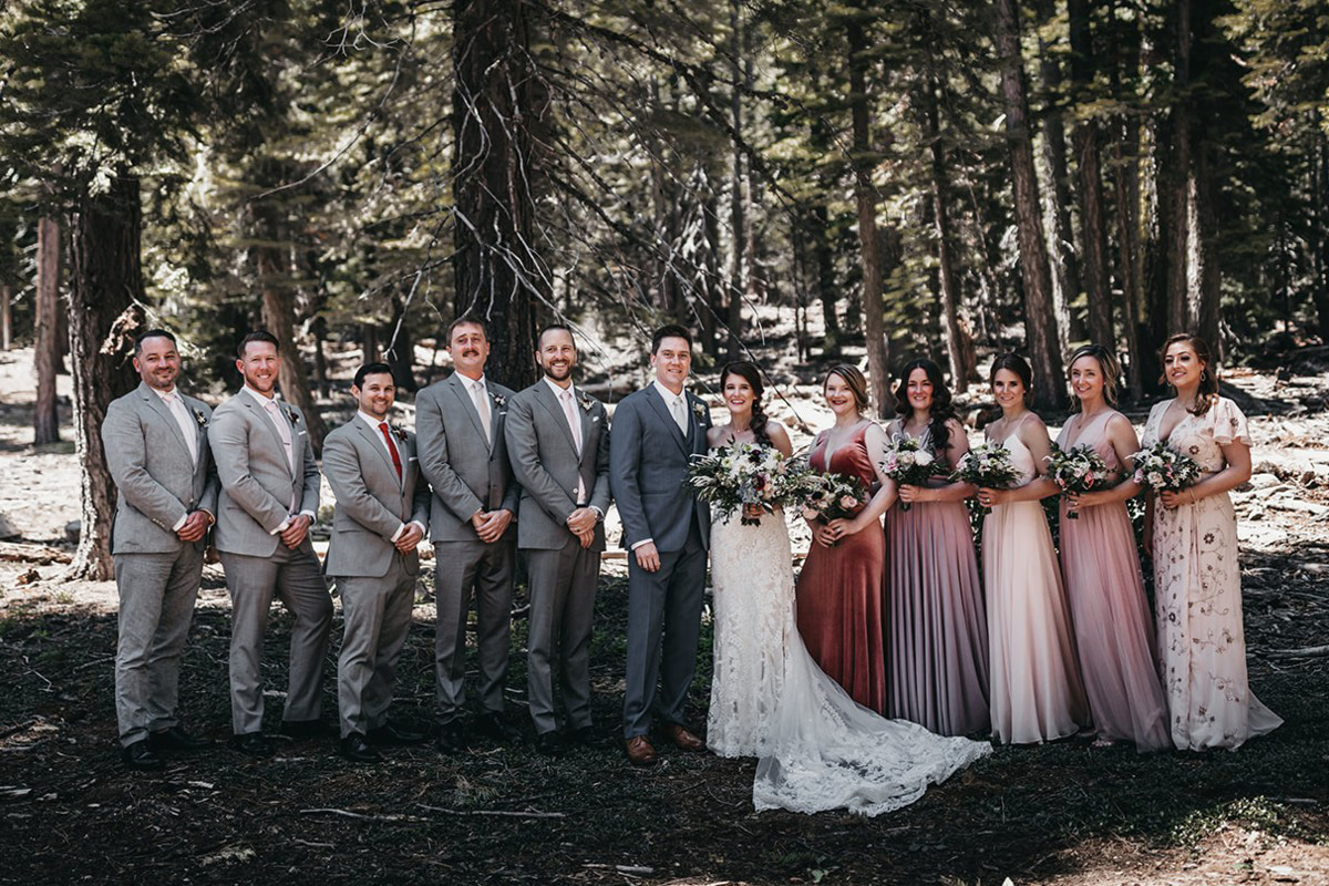 rustic relaxed wedding Lake Tahoe - wedding party posed photo