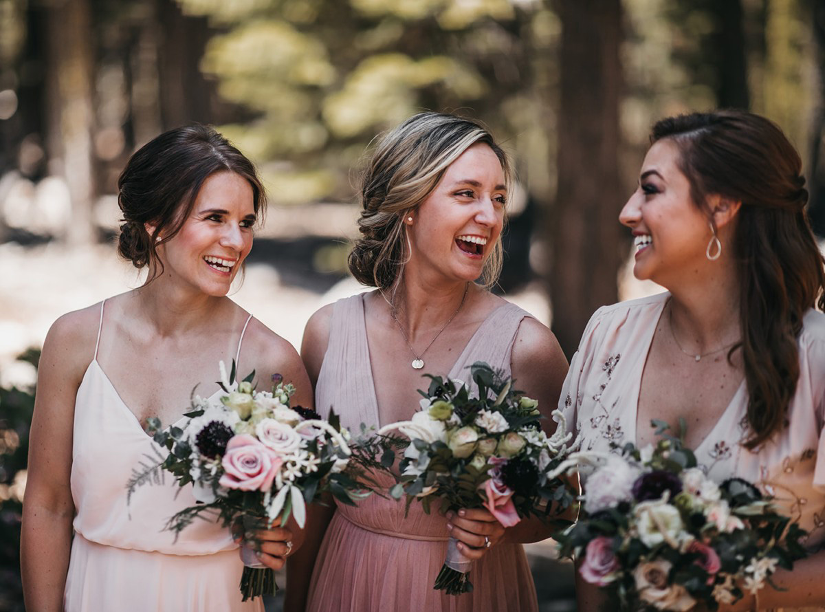 rustic relaxed wedding Lake Tahoe - bridesmaids enjoying celebration