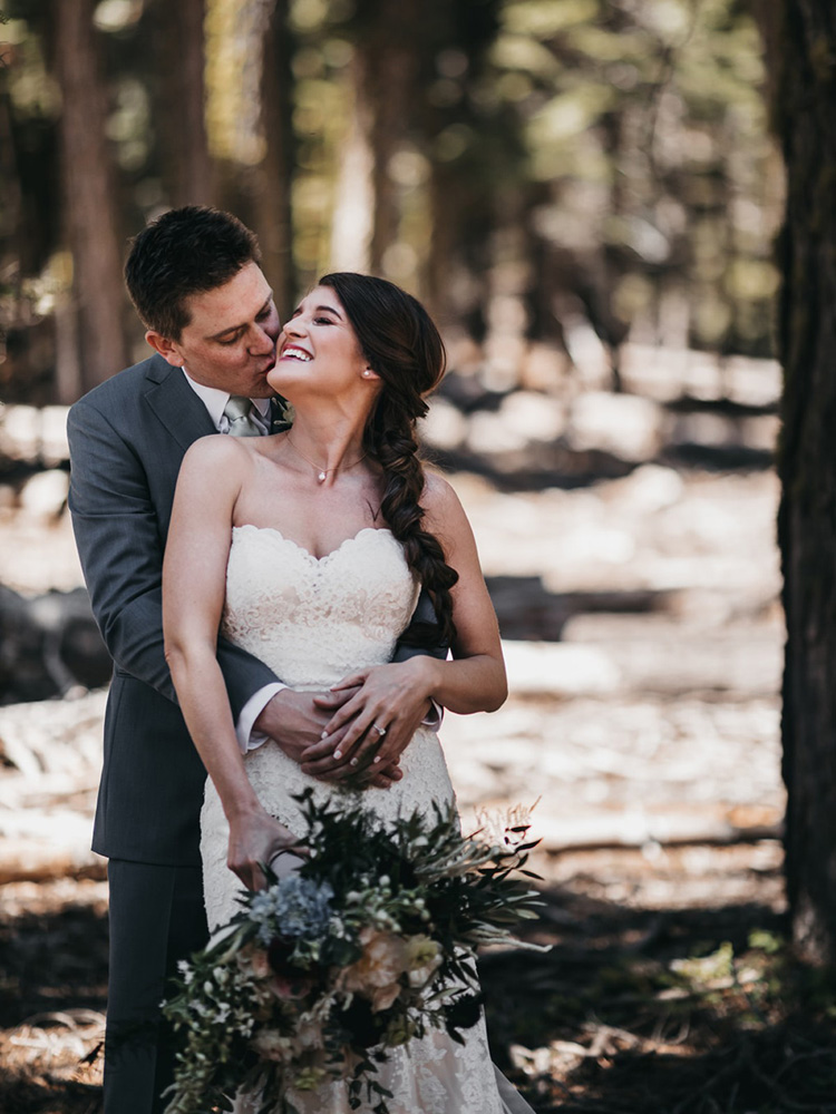 rustic relaxed wedding Lake Tahoe - happy couple after ceremony