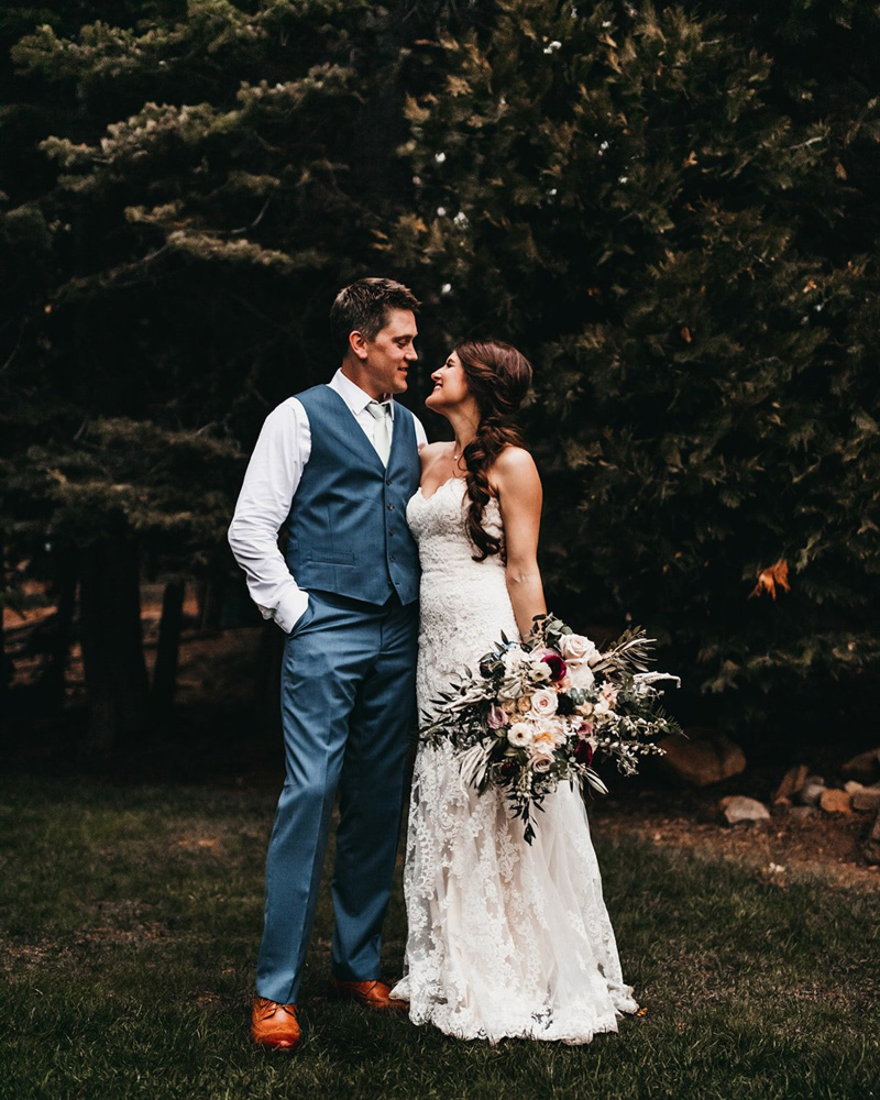 rustic relaxed wedding Lake Tahoe - couple relaxing after ceremony