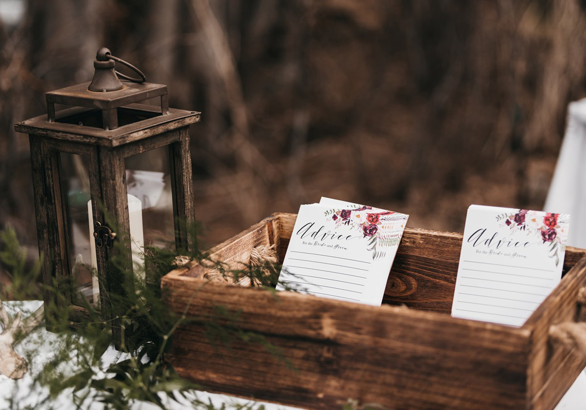 rustic relaxed wedding Lake Tahoe - cards asking guest to provide marriage advice to couple