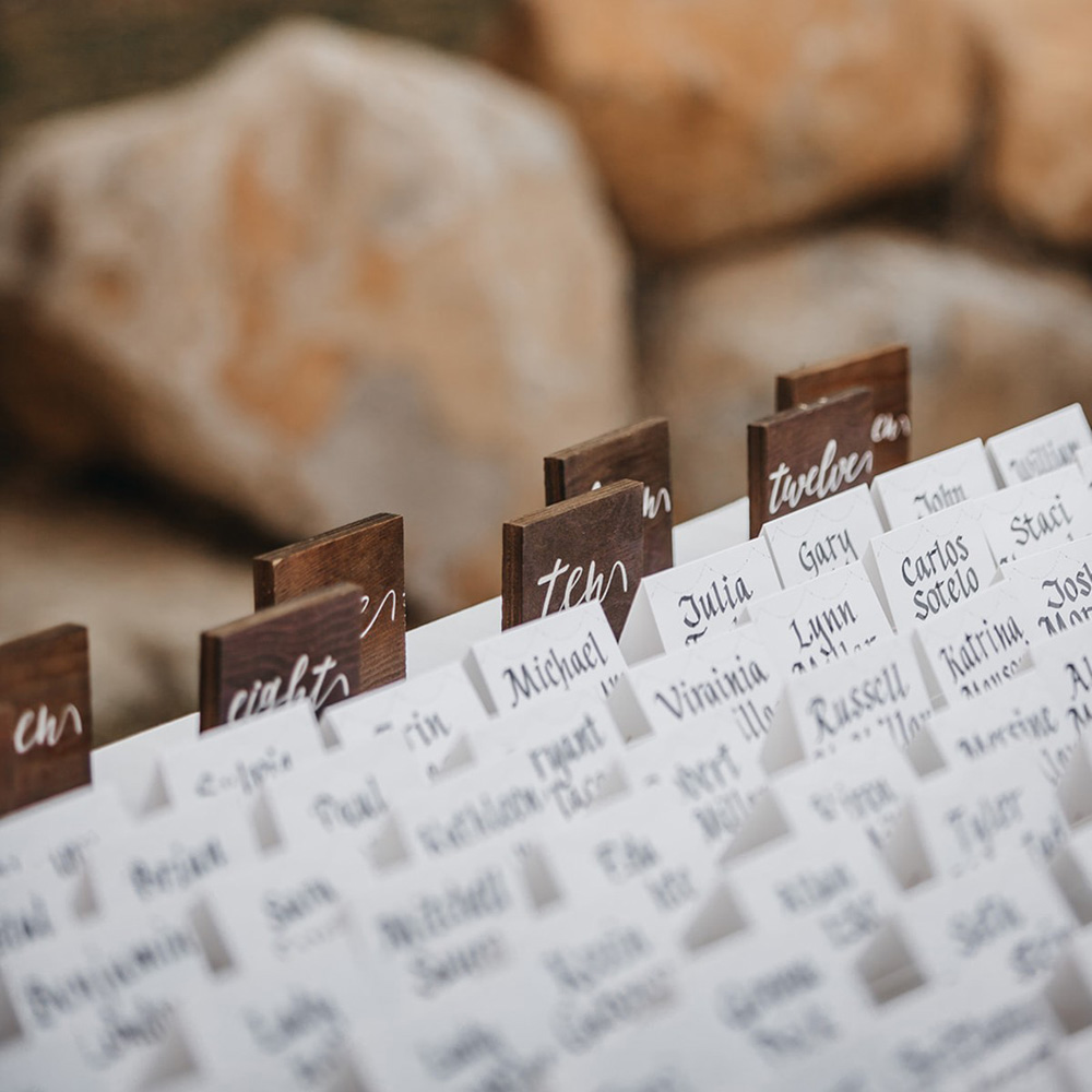 rustic relaxed wedding Lake Tahoe - escort card display