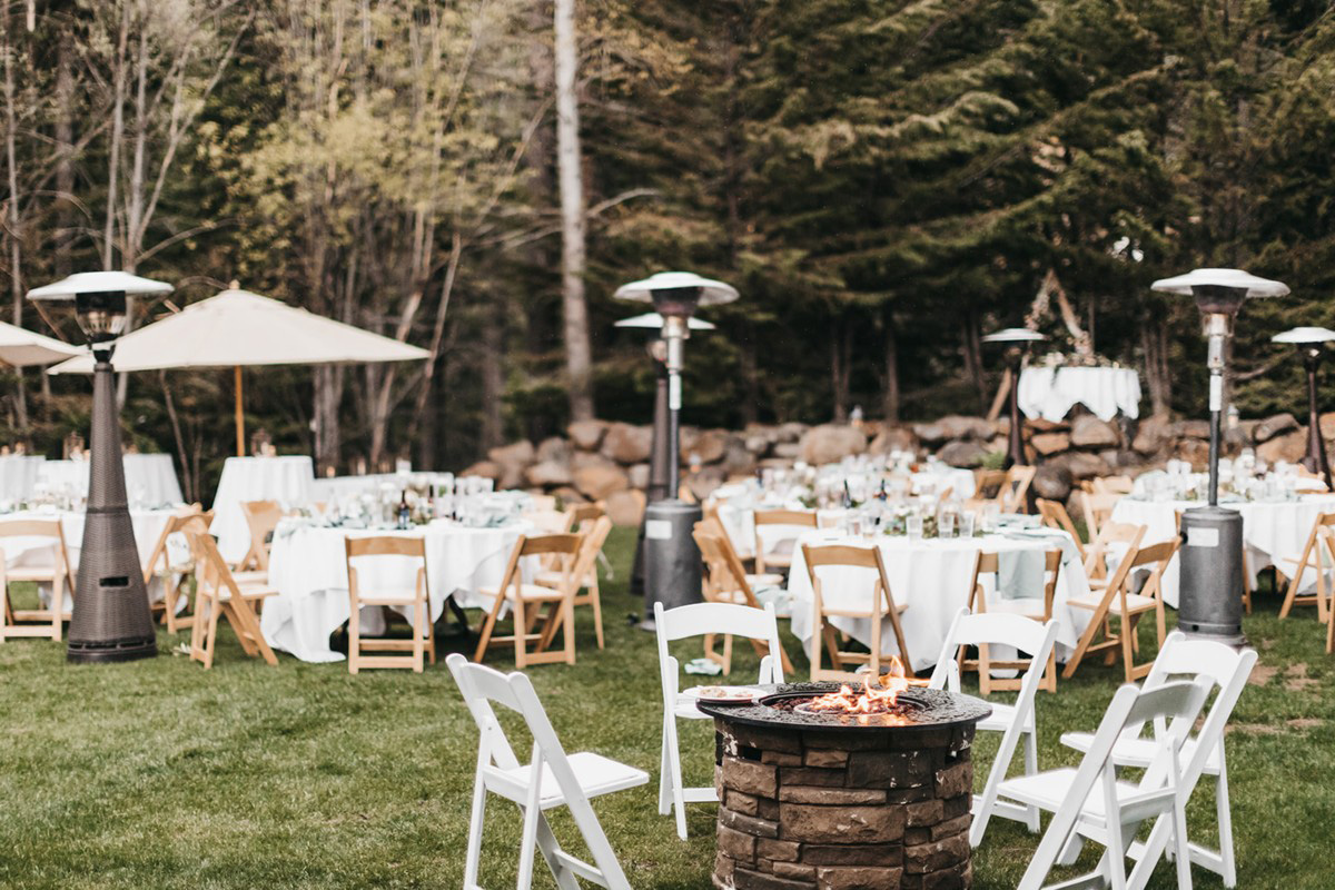 rustic relaxed wedding Lake Tahoe - reception area