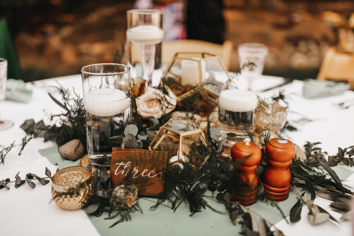 rustic relaxed wedding Lake Tahoe - table centerpiece