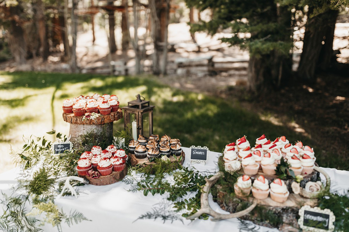 rustic relaxed wedding Lake Tahoe - dessert display