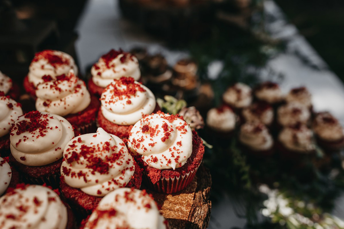 rustic relaxed wedding Lake Tahoe - red velvet cupcakes