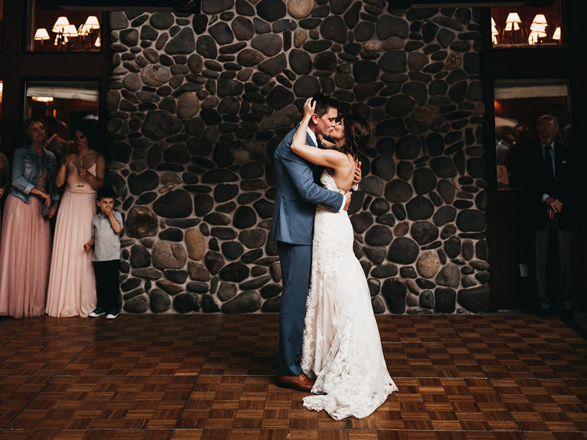 rustic relaxed wedding Lake Tahoe - first dance, couple kissing