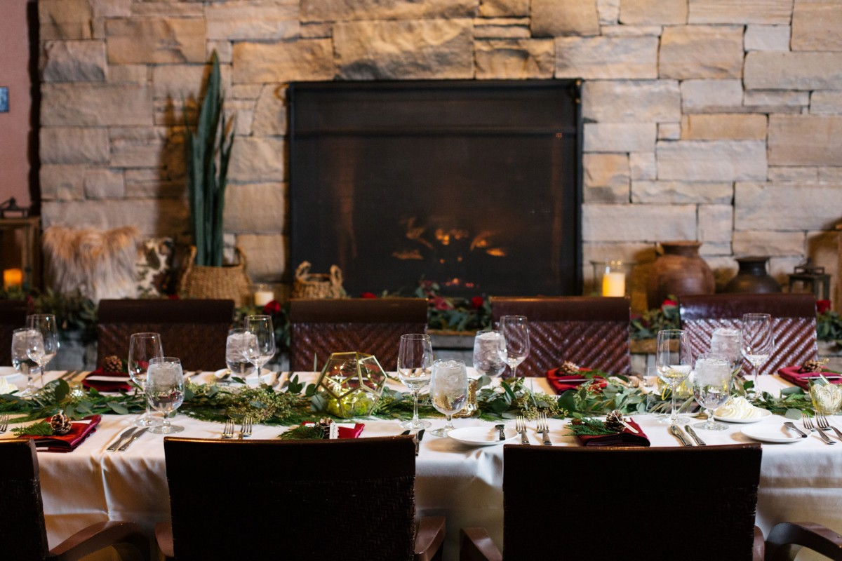 Indoor Dinner by Fireplace - Resort at Squaw Creek - Lake Tahoe wedding