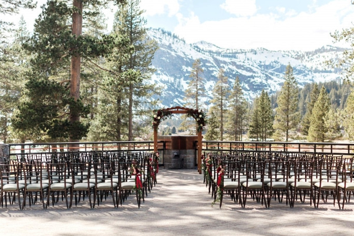 Spa Deck Ceremony with Chiavari Chairs - Resort at Squaw Creek - Lake Tahoe wedding