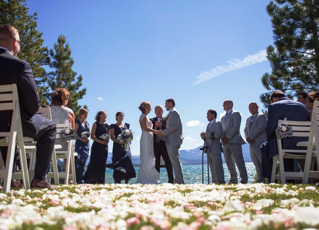 wedding ceremony Lake Tahoe shore